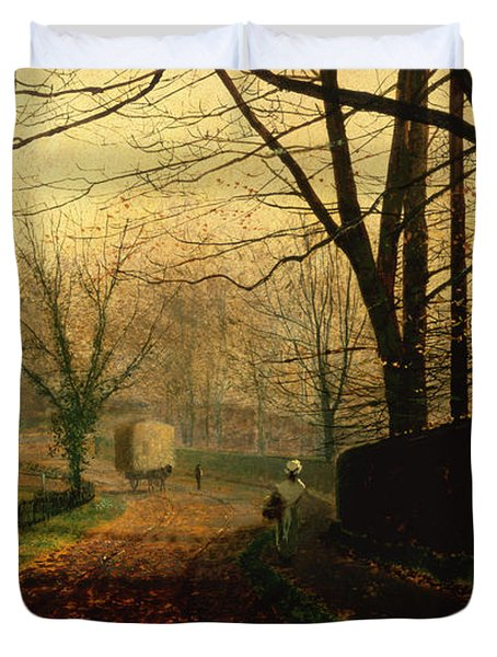 Autumn Sunshine Stapleton Parknear Pontefract  Duvet Cover by John Atkinson Grimshaw