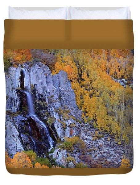 Autumn Surrounds Mist Falls In The Eastern Sierras Duvet Cover