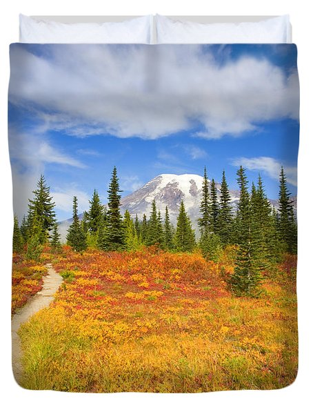 Autumn Trail Duvet Cover by Mike  Dawson