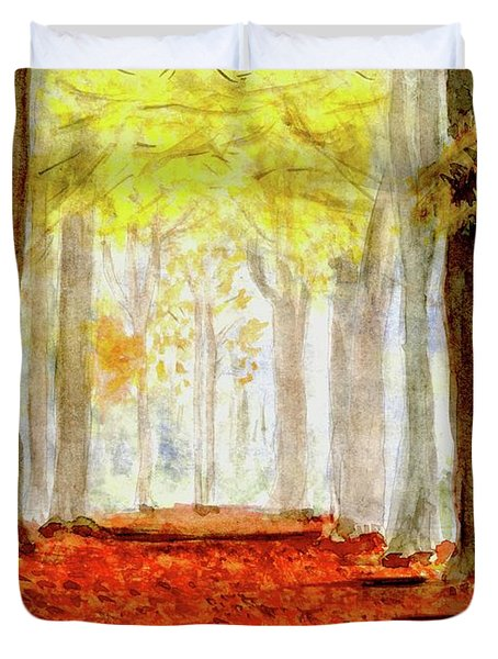 Duvet Cover featuring the painting Autumn Trail by Yoshiko Mishina