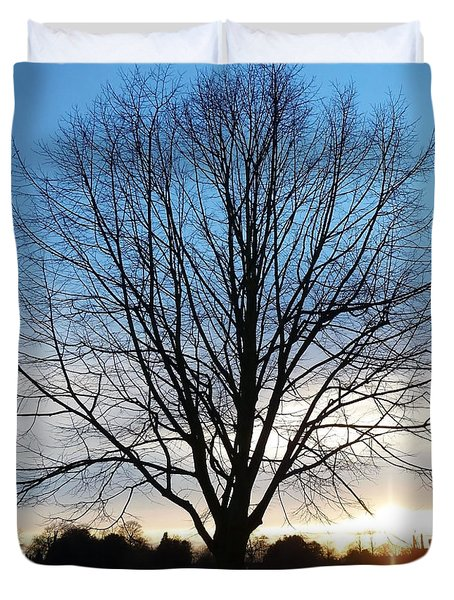 Duvet Cover featuring the photograph Autumn Tree And Sunset by Francesca Mackenney