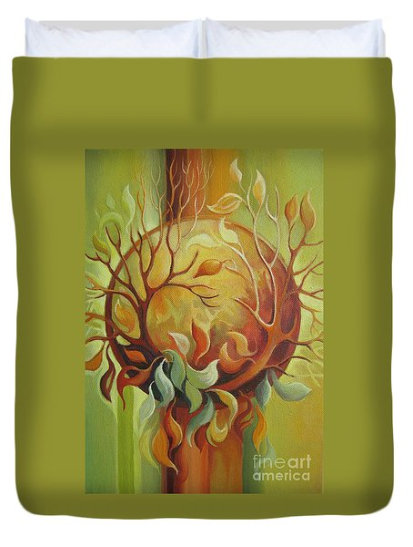 Duvet Cover featuring the painting Autumn Tree by Elena Oleniuc