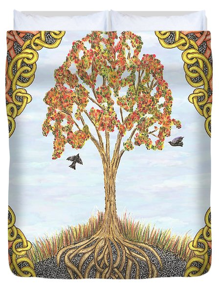 Autumn Tree With Knotted Roots And Knotted Border Duvet Cover