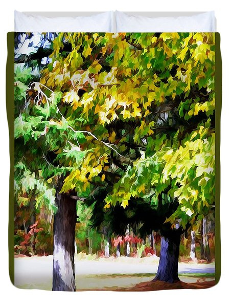 Autumn Trees 7 Duvet Cover by Lanjee Chee