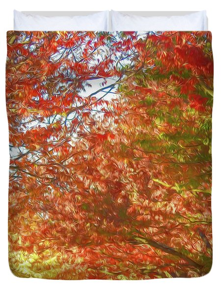 Autumn Trees Digital Watercolor Duvet Cover