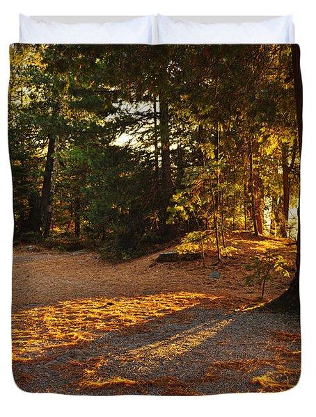 Autumn Trees Near Lake Duvet Cover