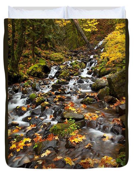 Autumn Tumbles Down Duvet Cover by Mike  Dawson