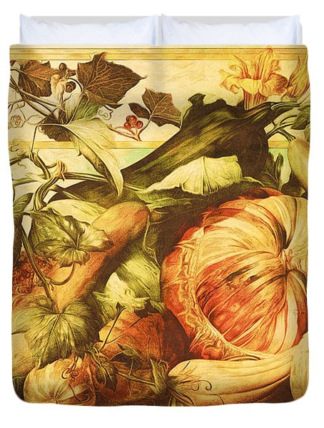 Duvet Cover featuring the digital art Autumn Vegetable Harvest  by Tracie Kaska