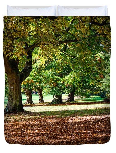 Autumn Walk In The Park Duvet Cover