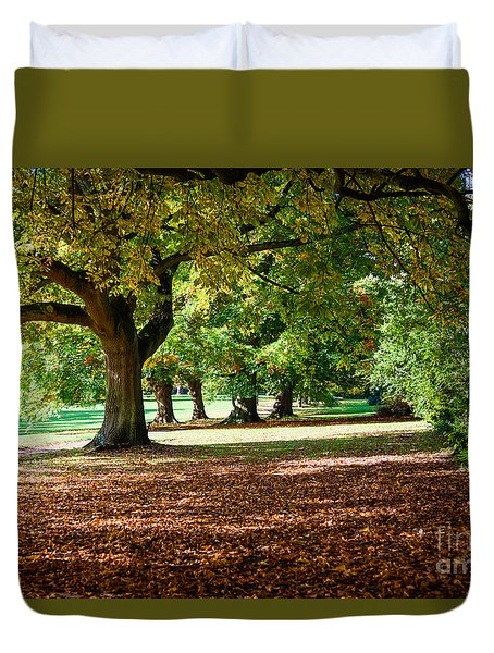 Autumn Walk In The Park Duvet Cover
