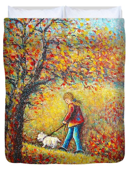 Duvet Cover featuring the painting Autumn Walk  by Natalie Holland
