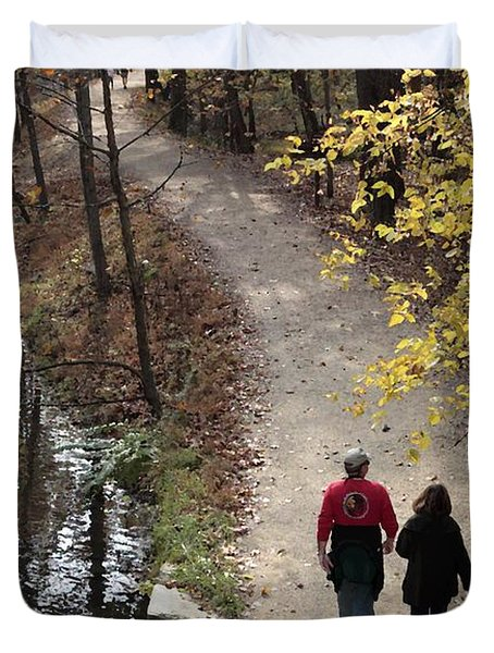 Autumn Walk On The C And O Canal Towpath With Oil Painting Effect Duvet Cover