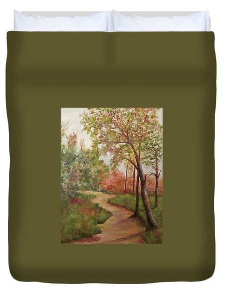 Duvet Cover featuring the painting Autumn Walk by Roseann Gilmore