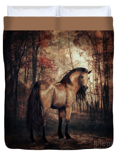 Duvet Cover featuring the digital art Autumn Walk by Shanina Conway