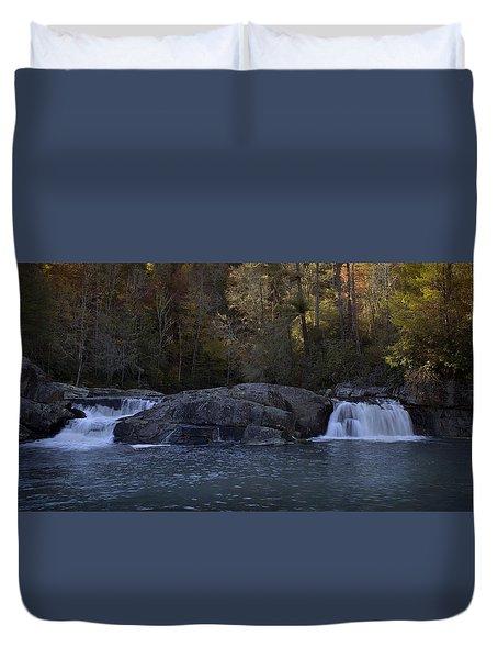 Duvet Cover featuring the photograph Autumn Waterfall  by Ellen Heaverlo