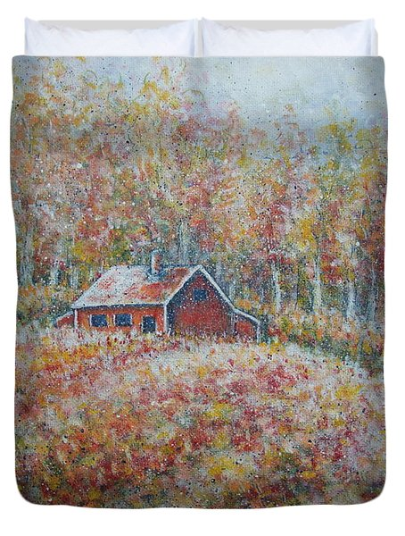 Duvet Cover featuring the painting Autumn Whisper. by Natalie Holland