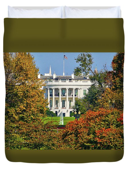 Duvet Cover featuring the photograph Autumn White House by Mitch Cat