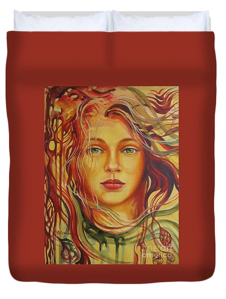 Duvet Cover featuring the painting Autumn Wind 2 by Elena Oleniuc