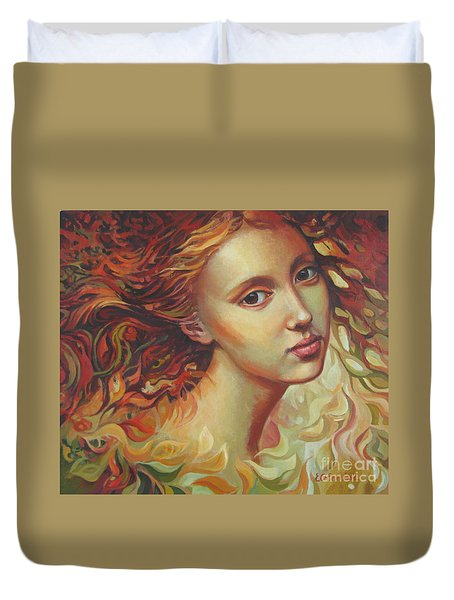 Duvet Cover featuring the painting Autumn Wind by Elena Oleniuc