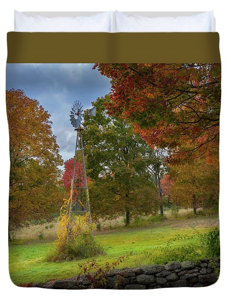 Duvet Cover featuring the photograph Autumn Windmill Square by Bill Wakeley