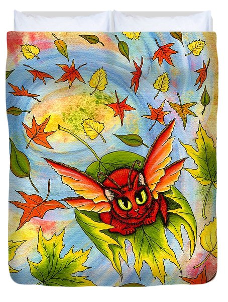 Duvet Cover featuring the painting Autumn Winds Fairy Cat by Carrie Hawks