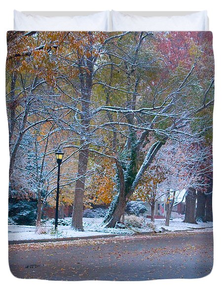 Autumn Winter Street Light Color Duvet Cover by James BO  Insogna