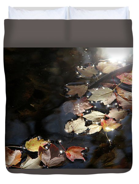 Autumn With Leaves On Water Duvet Cover