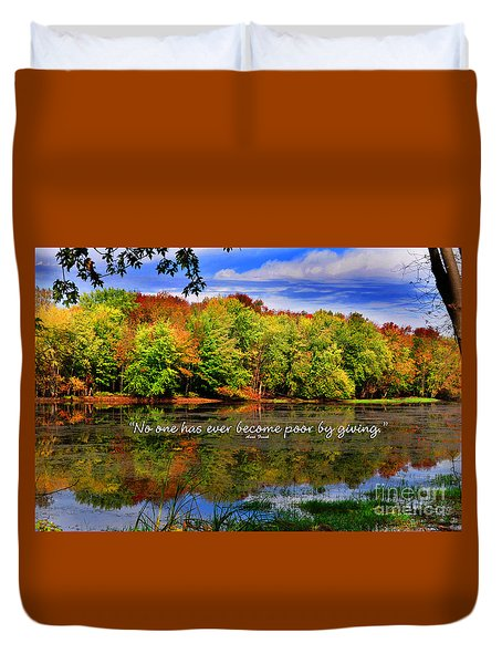 Duvet Cover featuring the photograph Autumn Wonders Giving by Diane E Berry