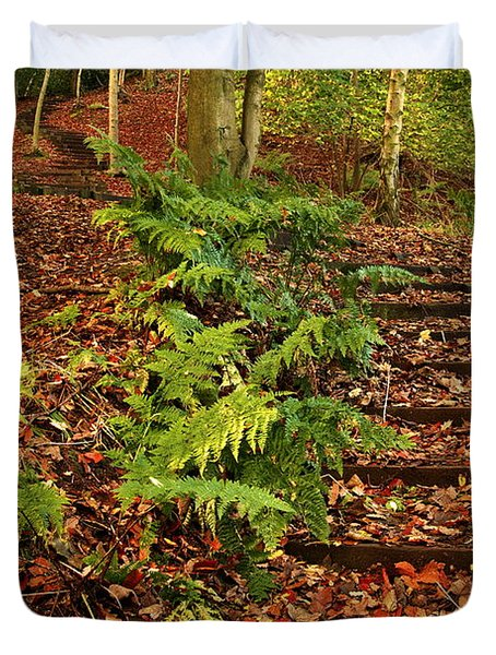 Autumn Woodland Path Duvet Cover
