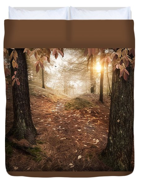 Duvet Cover featuring the photograph Autumn Woodland by Robin-Lee Vieira
