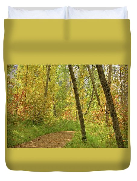 Duvet Cover featuring the photograph Autumn Woodlands by Jim Sauchyn