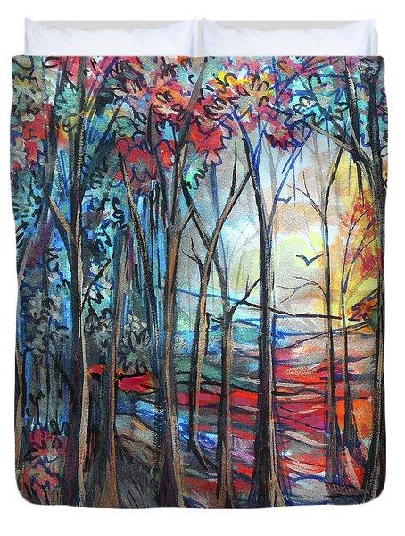 Autumn Woods Sunrise Duvet Cover