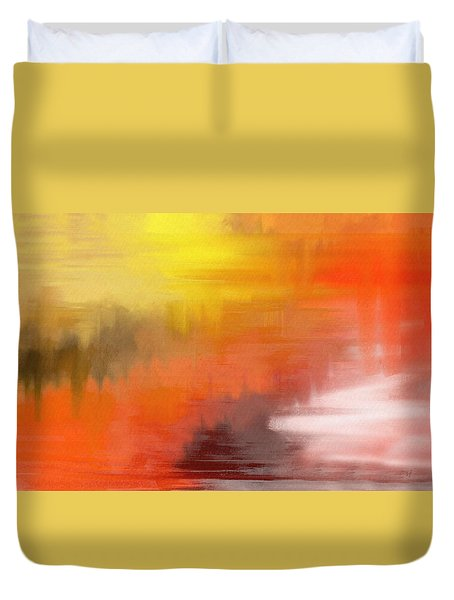 Duvet Cover featuring the digital art Autumnal Abstract  by Shelli Fitzpatrick