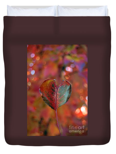 Duvet Cover featuring the photograph Autumn's Bold Heart by Debra Thompson