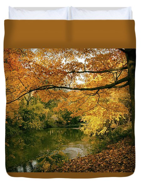 Duvet Cover featuring the photograph Autumn's Golden Tones by Jessica Jenney