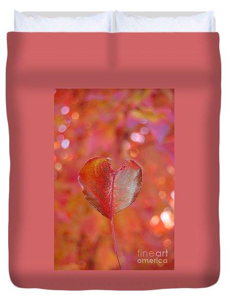 Duvet Cover featuring the photograph Autumn's Orange Elegance by Debra Thompson