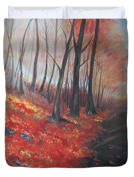 Duvet Cover featuring the painting Autumns Pathway by Leslie Allen
