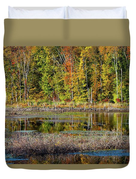 Duvet Cover featuring the photograph Autumns Quiet Moment by Karol Livote