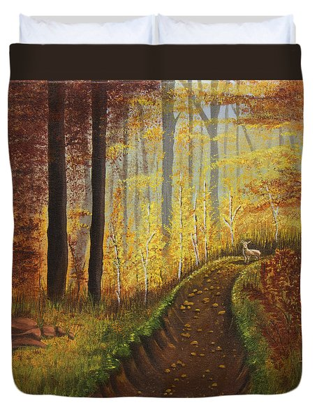 Autumn's Wooded Riverbed Duvet Cover by Christie Nicklay