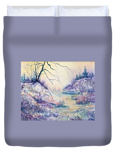 Autumnscape In Purple Duvet Cover by Carolyn Rosenberger