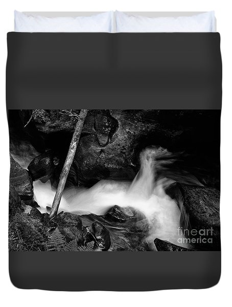 Duvet Cover featuring the photograph Avalanche Creek Bw by Vinnie Oakes