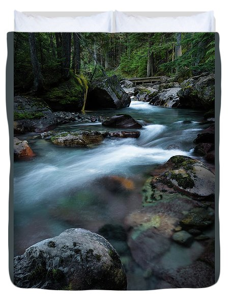 Avalanche Creek Through The Forest Duvet Cover