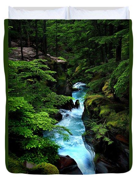 Avalanche Creek Waterfalls Duvet Cover