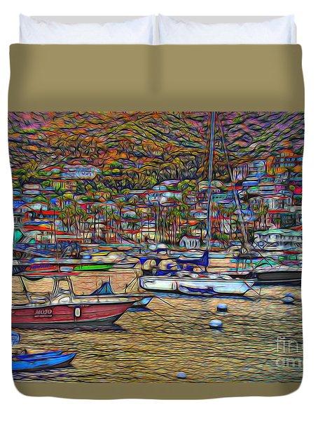 Avalon Harbor Sunset Duvet Cover