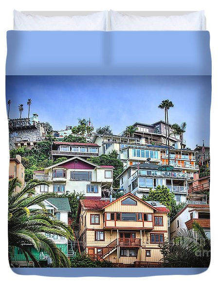 Avalon Hillside With Harbor View Duvet Cover