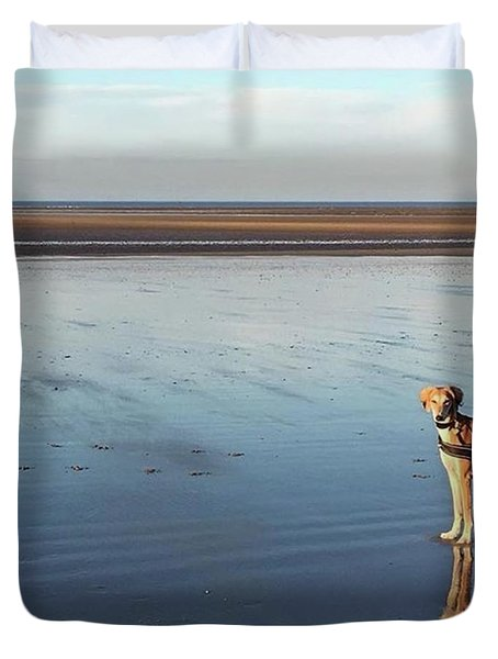 Ava's Last Walk On Brancaster Beach Duvet Cover
