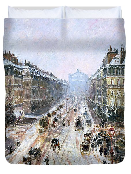 Avenue De L'opera - Effect Of Snow Duvet Cover by Camille Pissarro