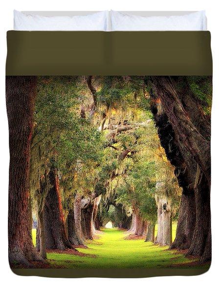 Avenue Of Oaks Sea Island Golf Club St Simons Island Georgia Art Duvet Cover by Reid Callaway