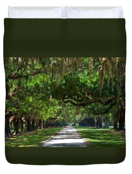 Avenue Of The Oaks At Boonville Plantation Duvet Cover