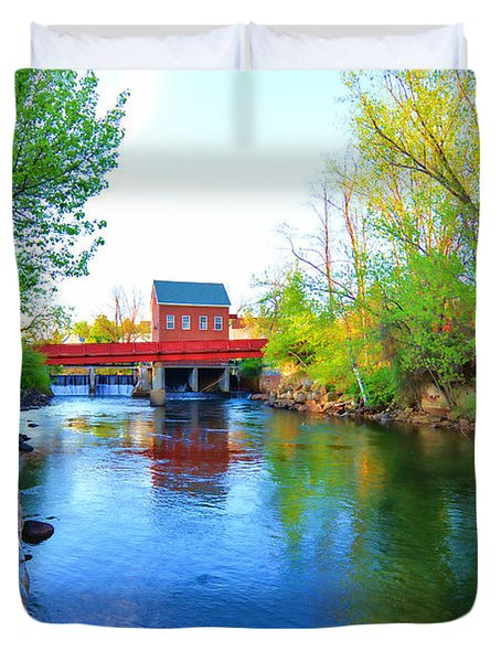 Duvet Cover featuring the photograph Avery Dam - Laconia Nh by Mim White